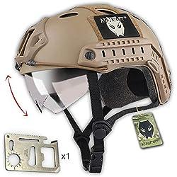 Casco táctico militar para airsoft o paintball, diseño de estilo SWAT, color negro con protección para los ojos