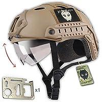 Casco táctico estilo militar, SWAT, de combate, rescatista, para airsoft o paintball, con gafas, para combate en espacios cerrados