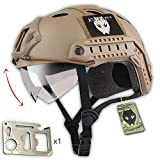 Tactical Army Military Style SWAT Combat PJ Type Fast Helmet DE with Goggles for CQB Shooting Airsoft Paintball