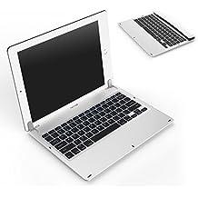 MoKo iPad Pro 12.9 Teclado Inalámbrico Bluetooth - Ultra-Slim Rotación de 130 Grados / Wireless Keyboard Backlitc LED Blanco ( QWERTY ) para Apple iPad Pro 12.9, Batería de Litio Interna, Plata