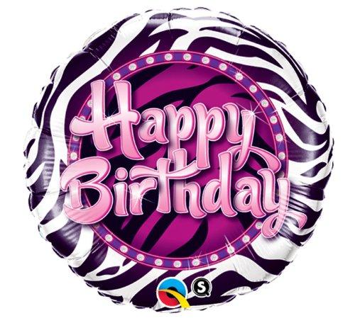 Zebra Print Happy Birthday Foil Balloon