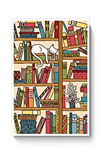 PosterGuy Cat 'n' Books Cat, Books, Cool, Funny, Pets Poster (A4)
