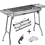 Sunjas Holzkohlegrill, Grillwagen, faltbare BBQ Campinggrill, Outdoor Reisegrill, Tischgrill, Mini Grill Standgrill für Picknick Party Barbecue, inkl. 2tlg Grillfläche