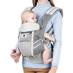 Meinkind Mochila Portabebe Ergonomica Multifunción, para Bebé 3-20 kg, Algodón Transpirable y Ligero, con Reposacabeza Plegable y Tirantes Flexibles, con Cinturones Dobles Ajustables y Cómodos, Gris
