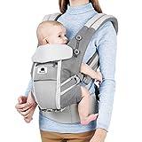 Meinkind Porte-Bébé Ergonomique Multi-Fonctions Ajustable Respirant, pour Bébé de 3-20 kg avec Coussin Tête Pliable et Bretelles Souples Respirantes, Double-Ceintures Réglables Confortables, Gris