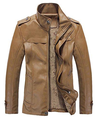 Herren Fashion PU Leder Korean Version Plus Dicke samt PU Leder Jacke Coat Khaki