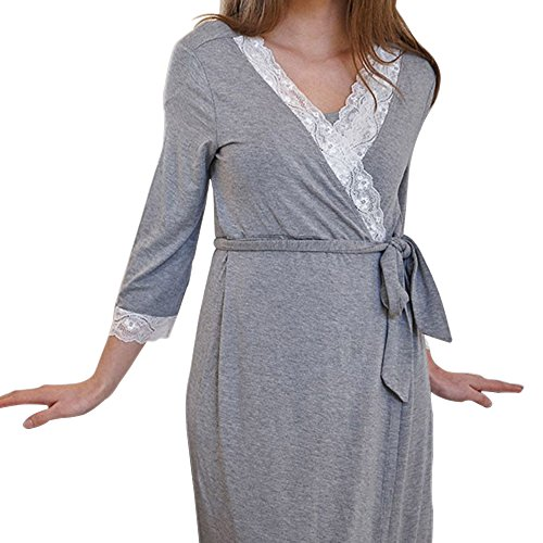 KINDOYO Damen Pyjama Elegant Sexy Spitze Splice Mutterschaft Robe Nachtwäsche,Dunkelgrau/XL