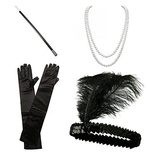 1920er Jahre Zubehör Set Flapper Kostüm für Damen InnoBase Roaring 20s Kostüme Stirnband Ohrringe Perlen Halskette Handschuhe Zigarettenspitze (A) (Pailletten 1920er Jahren Kleid)