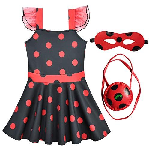en Marienkäfer Kostüm Set für Karneval Kinder Miraculous Ladybug Kleid Cosplay Verkleidung Party Outfit 140 mit Zubehör Augenmaske Tasche Süß Fasching Kinder Geburtstagsgeschenk ()