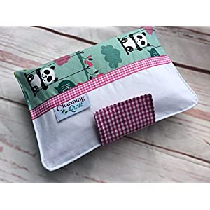 Kleine PANDA LIEBE in mint, pink und weiß ** Windeltasche mit vielen Fächern für Windeln und Feuchttücher