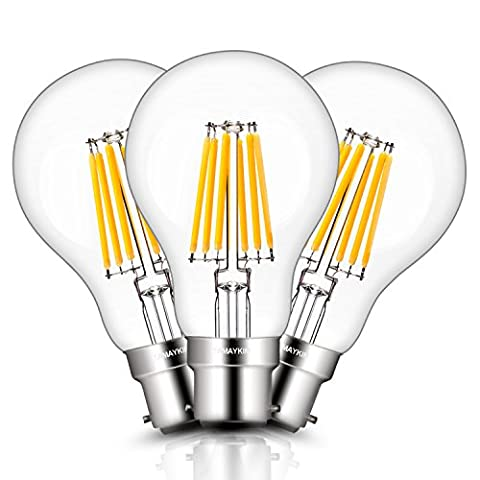 TAMAYKIM A60 6W Edison Style Antique LED Filament Light Bulb, 3000K Soft White 600LM, B22 Bayonet Cap Lamp, 60W Incandescent Equivalent, Non-dimmable, 3 Pack