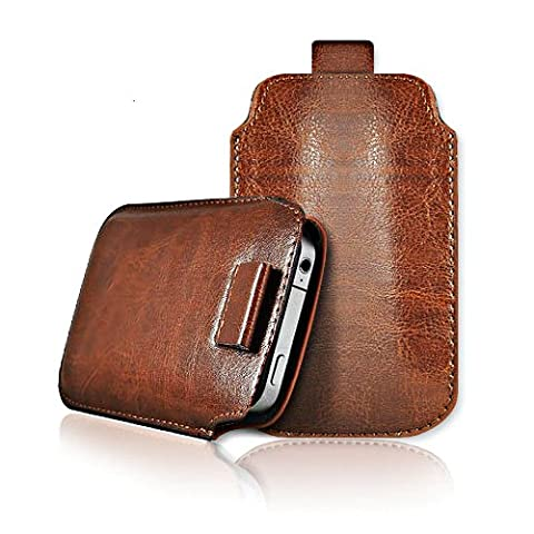 Phone Protection - Leather Pull Tab Skin Case Cover Pouch For Various Apple Phones - Brown - iPod Touch 2nd Generation (S)