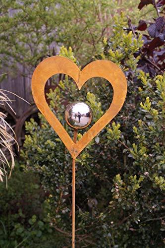 Rostoptik Gartenstecker mit Edelstahlkugel 3 Formen zur Auswahl Beetstecker (Metall, Herz 17x15cm)
