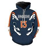 ZXTXGG Männer 3D Hoodies EU Denver Broncos Football Team Uniform Muster Digitaldruck Kapuzenpullis Liebhaber Kapuzenpullis(M,Blau)