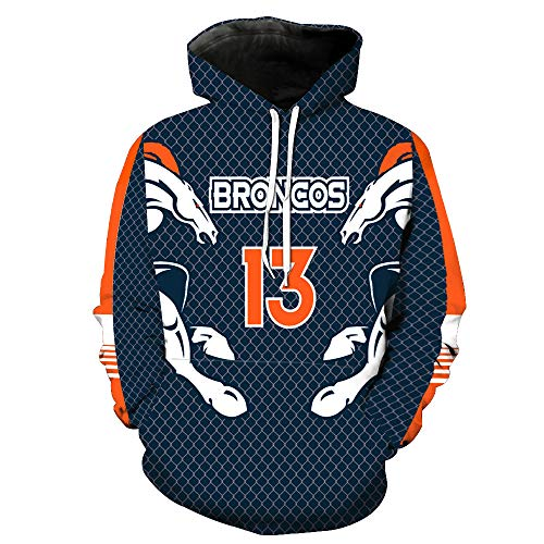 odies 13 Denver Broncos NFL Football Team Uniform Muster Digitaldruck Kapuzenpullis Liebhaber Kapuzenpullis(XL,Blau) ()