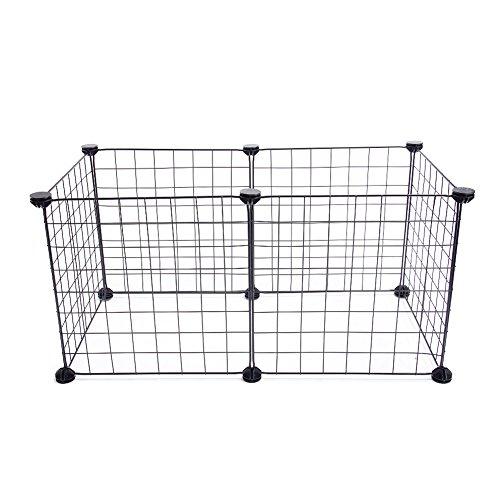 Recinzione per animali domestici in ferro, per piccoli conigli e cuccioli, pieghevole, per interni ed esterni Taglia libera Nero