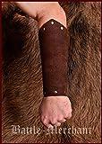 Guardabrazos fabricadas en piel de Napa, brazales de cuero de las armas - par de tulipanes medieval de Vikingo