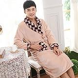 DJParejas espesado invierno otoño/invierno sexy coral polar pijamas de franela de manga larga, batas de baño , male , l