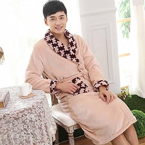 DJParejas espesado invierno otoño/invierno sexy coral polar pijamas de franela de manga larga, batas de baño , male ,