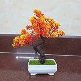 künstliche Bonsai Künstliche Bonsai-Baum Pflanzen Dekoration LWBAN-Flower Kunstpflanze Pflanze,Japanischer Feng Shui Pinien,Feng Shui Lucky Deko,Kunstbaum,Höhe ca. 24 cm,orange, 4