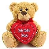matches21 Teddy Teddybär Plüschbär mit Herz Ich liebe Dich 25 cm Plüschteddy Kuscheltier Schmusetier