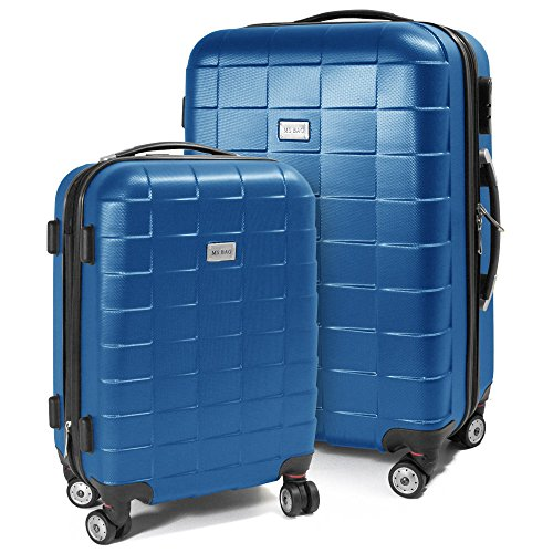BERWIN® Kofferset M + L 2-teilig Reisekoffer Trolley Hartschalenkoffer ABS Teleskopgriff Modell Squares (Skyblau)