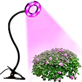 LED Grow Light | BluFied Round Head Plant Lamp with 10W Adjustable & 6 Level Dimmable Clip Desk Lamp & 18 LEDs (12 Red LEDs and 6 Blue LEDs) & 360� Flexible Gooseneck for Office Home Indoor Garden Greenhouse Organic Organizer Plants