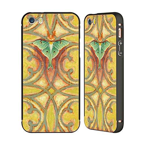 Ufficiale Rachel Paxton Giaccca Fialla Insetti Nero Cover Contorno con Bumper in Alluminio per Apple iPhone 5 / 5s / SE Falena Nella Luna Greenwood