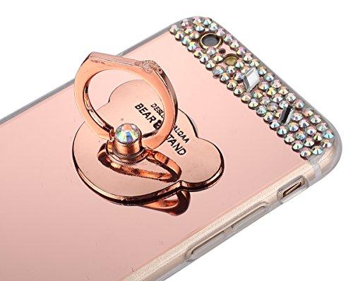 Etsue Glitzer Silikon Schutz HandyHülle für iPhone 6S/iPhone 6 Spiegel TPU Hülle, Mirror Effect Luxus Kristall Glitzer Glanz Sparkles Bling Diamant Silikon Handytasche iPhone 6S/iPhone 6 Ultradünnen K Bär Ring mit Strass,Rose Gold