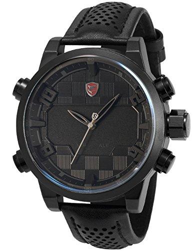 Shark Herren LED Armbanduhr 5cm Extragroßes Uhrgehäuse SH206
