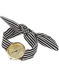 Reloj de pulsera - GENEVA reloj de pulsera de banda de bufanda de puntos de raya negra para mujeres