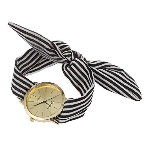 Dame - Armbanduhr - GENEVA Frauen Punkt Schleife Schal-Band Armbanduhr Schwarz Streifen