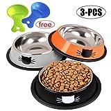 3 STÜCKE Pet Bowl Verschiedene Edelstahl Rutschfeste Katze Hundenapf Pet Feeder Bowl (Grau/schwarz/orange)