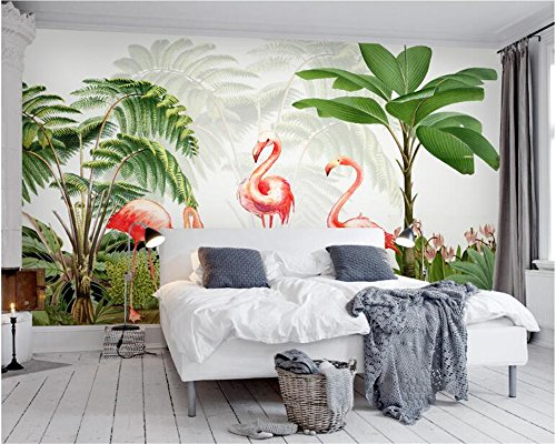 Von Hand Bemalt, Bad (Malilove Fashion Frische Tapete Flamingo Anlage Hand Bemalt Modern Klassisch Minimalistischen Tv-Kulisse Papel De Parede 3D Wallpaper400X280CM)