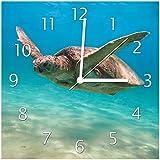 Wallario Glas-Uhr Echtglas Wanduhr Motivuhr • in Premium-Qualität • Größe: 30x30cm • Motiv: Meeresschildkröte