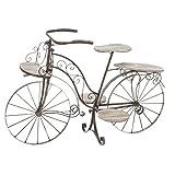 Vélo porte plante décoratif jardinière en bois chêne et fer forgé pour jardin, terrasse , véranda ou intérieur !...