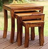 #3: Santosha Decor Sheesham Wood Pre-Assemble Stool Nesting Bedside Table (Natural Honey Finish) - Set of 3