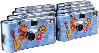 TopShot Flower Power - Cámara analógica desechable (27 fotos, flash, 8 unidades), azul