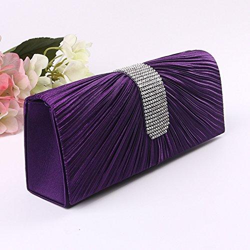 Einfache, Europa, Dinner - Tasche, Strass, Abends Koffer, Handtaschen Violet