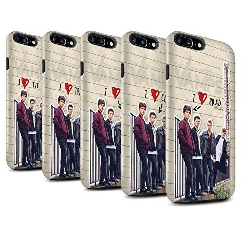 Offiziell The Vamps Hülle / Matte Harten Stoßfest Case für Apple iPhone 7 Plus / Band Muster / The Vamps Geheimes Tagebuch Kollektion Pack 5pcs