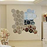 Dakshita - Hexagon Silver - 12.1 x 10.5 cm (Pack of 31) 3D Acrylic Decorative Mirror Wall Sticker for Bedroom Stylish Latest Room Decor for Home and Office.