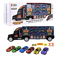 SOKA® Car Transporter Carrier Truck Toy - Play Vehicle Set of 1 Big Truck Carrier, 6 Colourful Metal Cars, 5 Cones, 2 Barrels and 4 Stop Signs