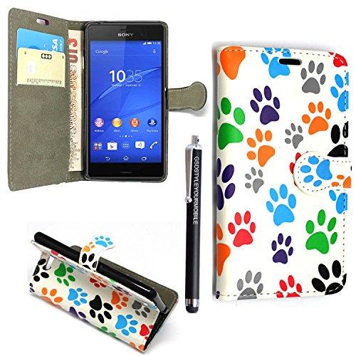 Preisvergleich Produktbild Sony Xperia XA HÜLLE, Kamal Star® PU LEDER CASE COVER HÜLLE ETUI TASCHE SCHALE + STYLUS (Multi Dog Cat Paw Print Book)