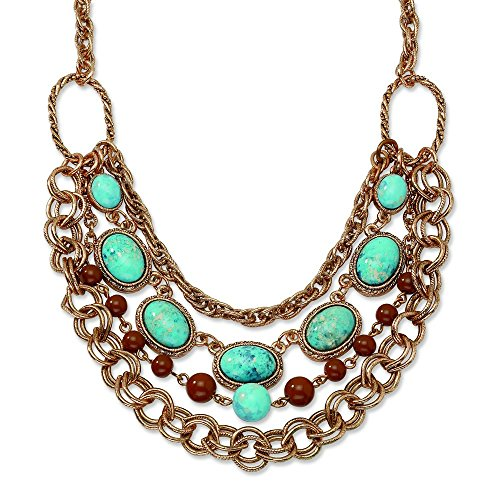copper-tone-aqua-et-perles-marron-collier-multirang-406-cm-avec-ext