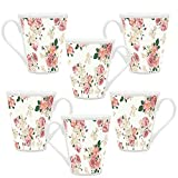 HomeSoGood Red And White Flowers White Ceramic Latte Coffee Mug- 355 ml (Set Of 6) best price on Amazon @ Rs. 2399