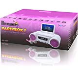 from Mr Entertainer Partybox CDG Pink Girls Karaoke Machine Portable DVD Player Includes 2 Microphones Model MRE-101WP