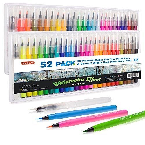 Shuttle Art 52 Stück Real Brush Pens, 50 Farben Wasserfarben Pinselstifte mit 2 Wasserpinsel Stifte, weiche flexible Spitze perfekt für Erwachsene zum Malbuch, Manga, Comic, Kalligraphie (Weiche Flexible Spitze)