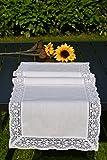 Tischläufer Häkeldecke Läufer Tischband Häkelkante Klöppelspitze Landhaus Look Baumwolle 40/90 cm Weiß