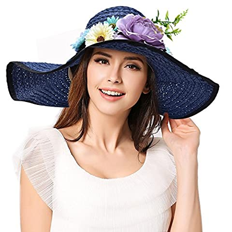 Women's Summer Sun Hat Straw Hat Cotton Ladies hats / girl fashion Beach Hat Women Sunscreen Solid color Floppy Hats , Wide Brim Foldable.have Windproof rope. big flowers Design cap.(2666