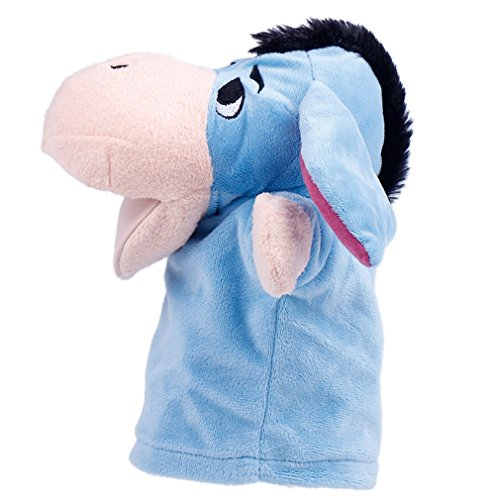Bigood Handpuppe Cartoon Handspielpuppe Babyspiel Tier Form Esel Blau